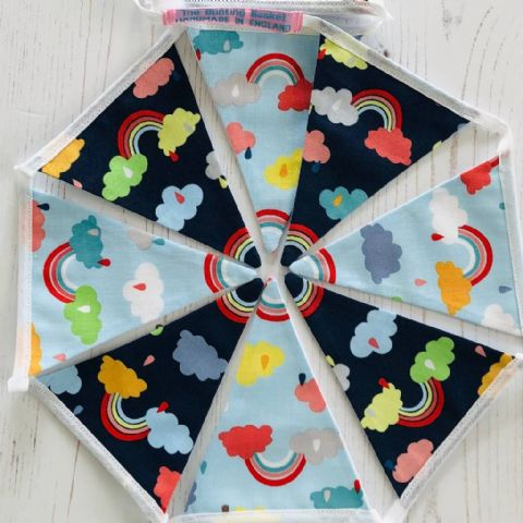 Rainbow of Hope cotton mini bunting  (Price inc P&P) with 14 Flags